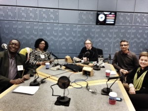 In the studio, from L to R: Ayo Akinfe, Yvonne Brooks, Michael Goldfarb, Shaaz Mahboob, A.M.Bakalar